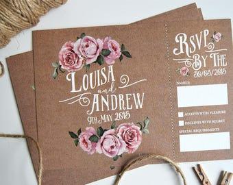 Rustic Rose Wedding Invitation and Rsvp Postcard (sample)