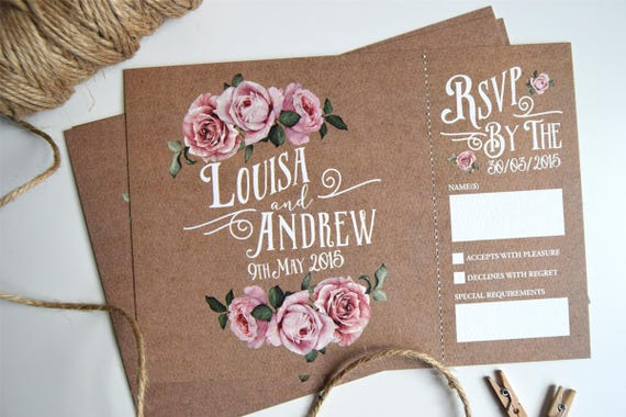 Rustic Rose Wedding Invitation and Rsvp Postcard Sample