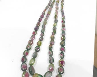 Beautiful watermelon tourmaline beaded necklace 2 lines weighted 250 carats