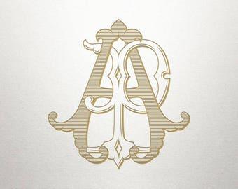 Vintage Digital Monogram - AP PA - Digital Monogram - Custom