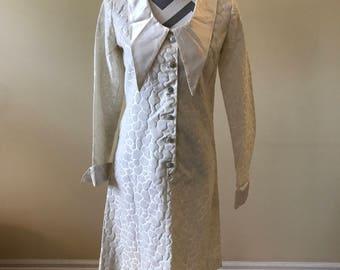 1960's off white dress/ vintage dress