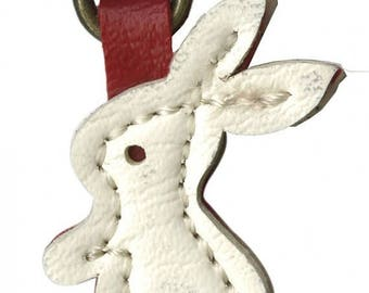 Sale Leather Like Bunny Zipper Charm from Emma Creations, Zipper Pull
