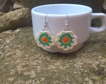 Cotton crochet mandala inspired earrings