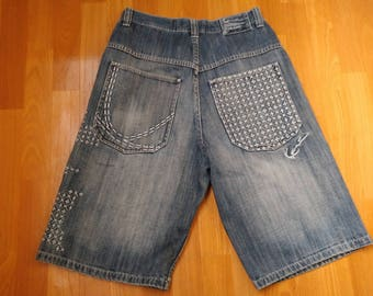 KARL KANI shorts, Kani jeans denim shorts of 90s hip-hop clothing, 1990s hip hop, OG, gangsta rap, size W 32