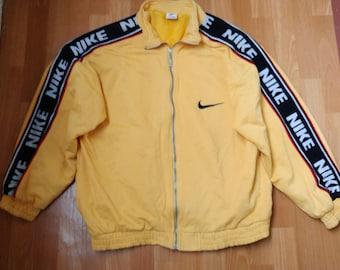 NIKE jacket, vintage tracksuit jacket windbreaker, yellow old school Nike jordan 90s hip hop clothing, 1990s hip-hop size XL Made in Hungary