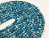 "Natural Apatite Faceted Rondelle Gemstone Loose Beads 15.5"" Long Per Strand Size 3x5mm/3x4mm. I-APA-0299"