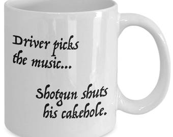 DRIVER Picks The Music... - SUPERNATURAL Inspired Mug - TV Show Fan Gift - Sam and Dean - Winchester Brothers - 11 oz white coffee tea cup