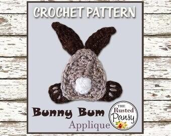 Crochet PATTERN, Applique Bunny Bum, Instant Download