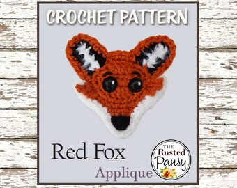 019 - Red Fox Applique Crochet PATTERN, Instant Download