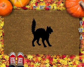 Halloween Cat Coir Doormat - 18x30 - Welcome Mat - House Warming - Mud Room - Gift - Custom