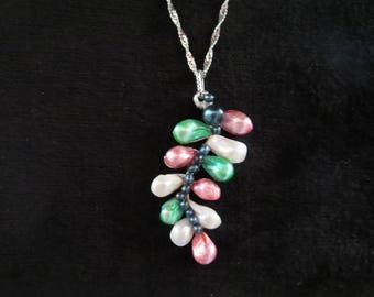 """floral leaf"" necklace with freshwater pearls"