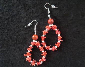 drop earrings in coral and nucleons