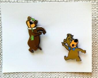 1990s Yogi Bear & Boo Boo Lapel Pins Enamel Hanna Barbera Cartoon Character Tack Pin Memorabilia