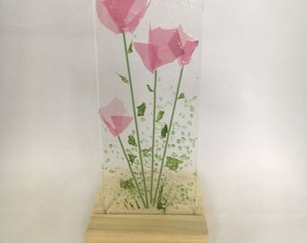 Floral Glass Plaque, Candle Display, Pink Flowers,  Fused Glass, Home Decor, Gift for her, Birthday, Teacher's Gift