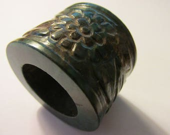 Chinese Dark Green Jade Archer Thumb Ring with Floral Motif, 1 1/4""
