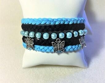 "Bracelet ""Blue and black butterflies"""