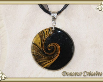Necklace black gold spiral 103032