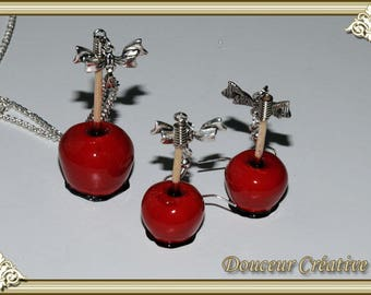 Set necklace earrings red apples love 105002