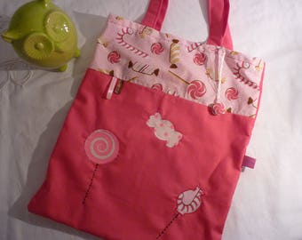 Tote bag pink girl themed candy