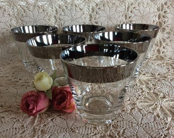 Vintage Dorothy Thorpe Silver Band Allegro lowball whisky glassware 8 oz
