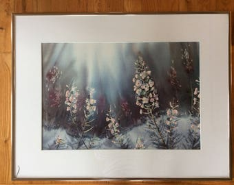 Original Jean Yves Guindon watercolor painting delphiniums floral scene