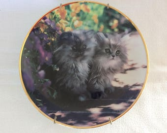 Sweet kitty cats collectible wall plate home decor Sitting Pretty by Nancy Matthews