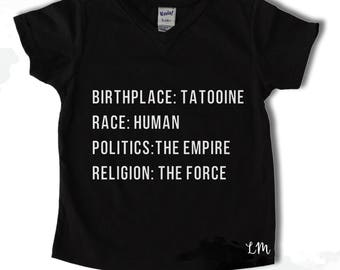 Star Wars themed Birthplace Shirt Vader Inspired