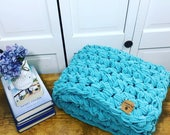 "Teal Chunky Hand Knit Blanket Child Toddler Baby 45"" X 31"" Christmas Gift"