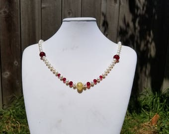 Fresh Water Pearls and Red Torch Work Glass