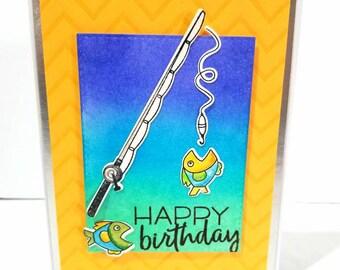 Birthday Fishing Card, Fishing Card, Handmade Birthday Card, Fisherman Card, Birthday Card for Him, Birthday Card for Dad