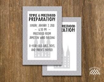 LDS Temple & Priesthood Preparation Invitation -- Gray Dots