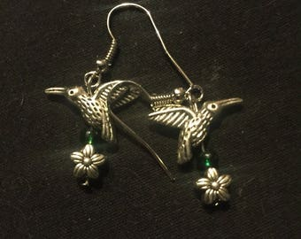 Hummingbird and flower earrings