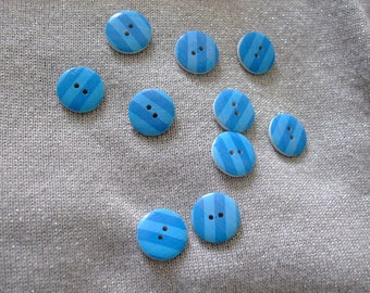 lot 10 1.7 cm Blue striped round shaped wooden buttons 2 holes