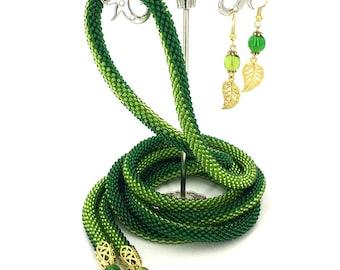 Jewelry Set, Long Beaded Crochet Rope Necklace & Earrings