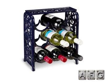 Wine rack in cast iron for 9 bottles