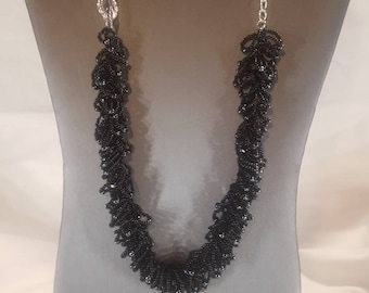 Beaded fringe necklace black beaded necklace black necklace fringe necklace gift for her hand crafted jewelry