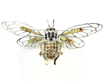 Huge Sapphire Sterling Silver Gold Bee Brooch 91.00cts