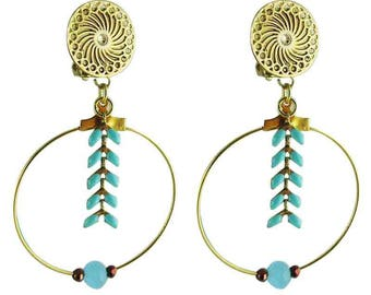 Earrings clips turquoise Athena (made in France)