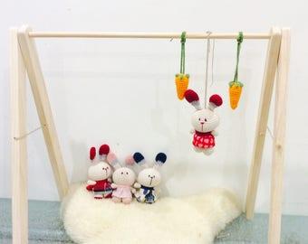 Bunny Pram Toy, Baby Gym Toy, Bunny Pram toy, Gym Activity Toy, Nursery Gift, Crochet Crib Toy, Pacifier Clipper Mobile Door Hanger