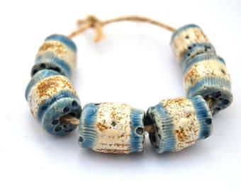6 Nautical Beads, Rustic Beads, Handmade Ceramic Beads, White / Blue Beads, Textured Beads, Jewelry Supplies