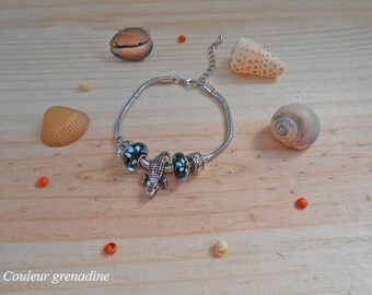 Bracelet charms crocodile sea blue and black beads, grandmothers, Easter gift party