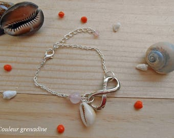 Infinity bracelet semi precious rose quartz and shell cowrie, gift idea party big day, Easter