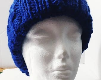 Chunky Ribbed Slouchy Cable Ribbed Knitted Beanie Hat Blue Large Size