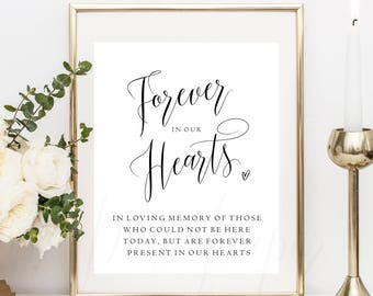 Forever in our hearts sign, printable, memory sign, in loving memory, wedding sign, in memory of, we know you would be here today, loved one
