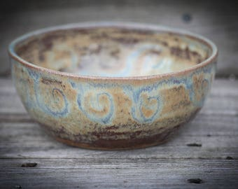 OOAK Hand Thrown, Ceramic Bowl, Ochre, Rust, Swirl, Soup, Snack, Small, Pottery