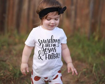 Jesus and Football, Baby Girl Shirts, Toddler Shirt, Jesus Shirt, Toddler Clothes, toddler Girl Shirt, Baby Girl Clothes, Sunday Shirt