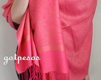 Pashmina Scarf Salmon Pink, Scarf for Women