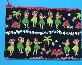 Hawaiian hula girl zipper pouch