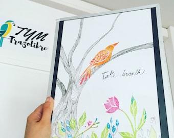 Illustration poster secret garden, bird lino print, hand print, birthday gift, gift baby girl nursery decor