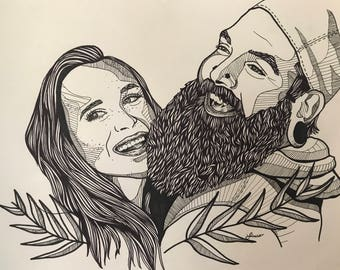 "11""X14"" Custom Couple Illustration"